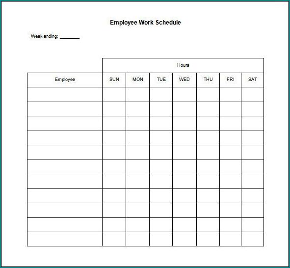 Sample of Employee Work Schedule Template