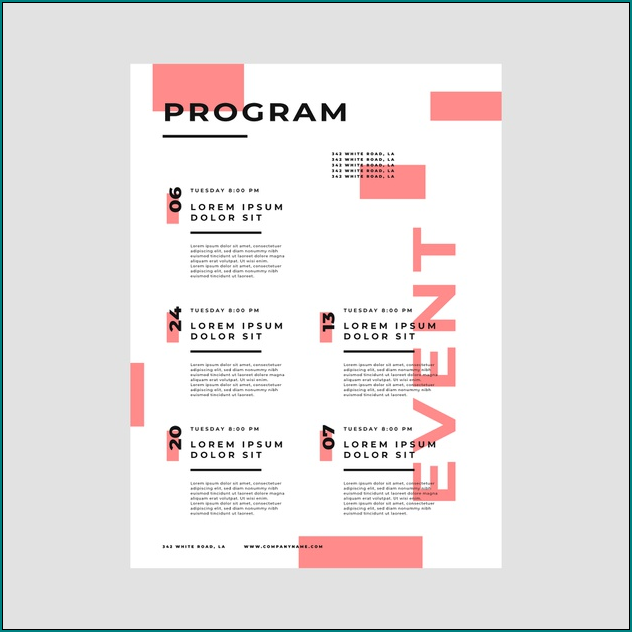 Sample of Event Program Template