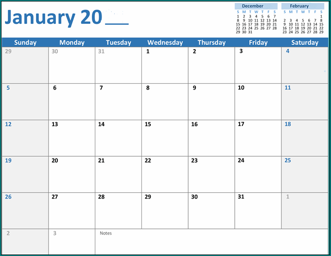 Sample of Excel Monthly Work Schedule Template