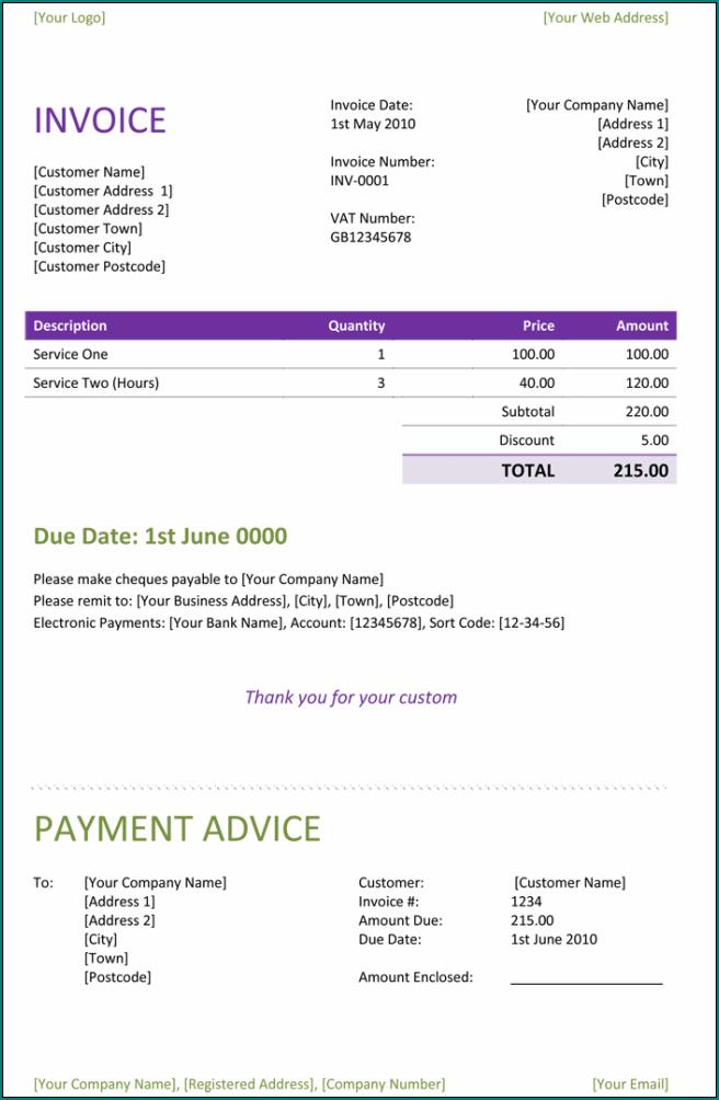 Sample of Freelance Invoice Template