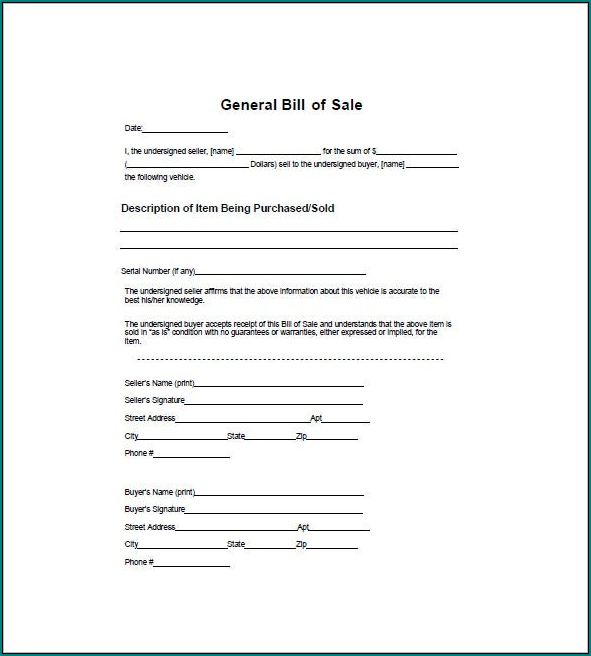 Sample of General Bill Of Sale Form
