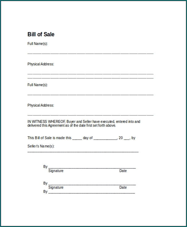 Sample of Generic Bill Of Sale Form