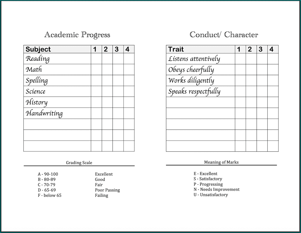 Sample of Homeschool Report Card Template