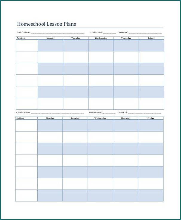 Sample of Homeschooling Schedule Template