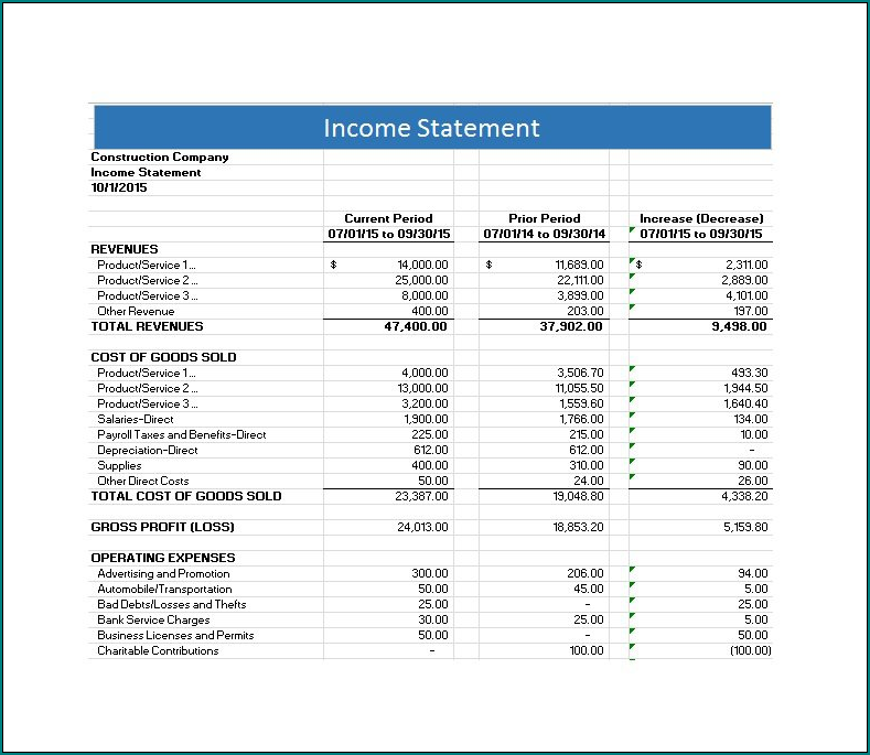 Sample of Income Statement Template