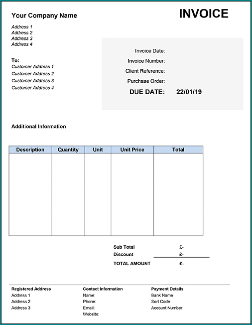 Sample of Invoice Template Word