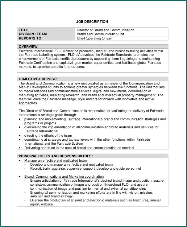 Sample of It Job Description Template