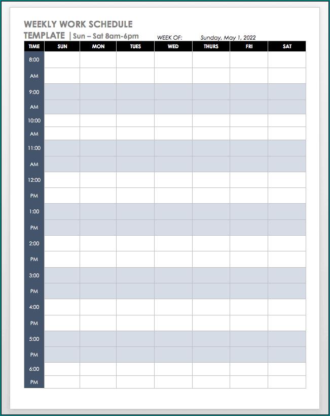 Sample of Job Schedule Template