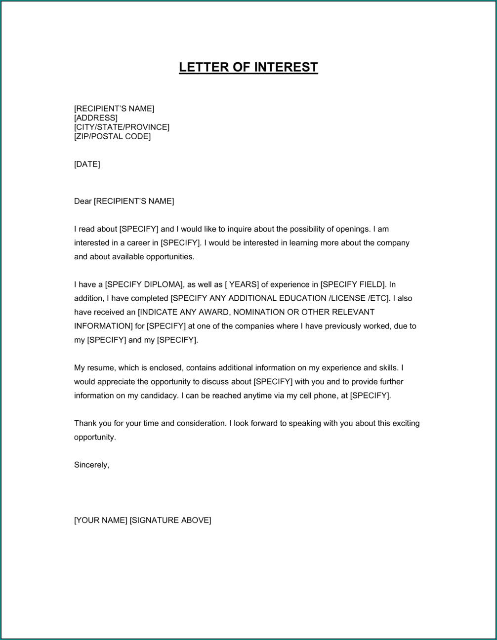 Sample of Letter Of Interest Template