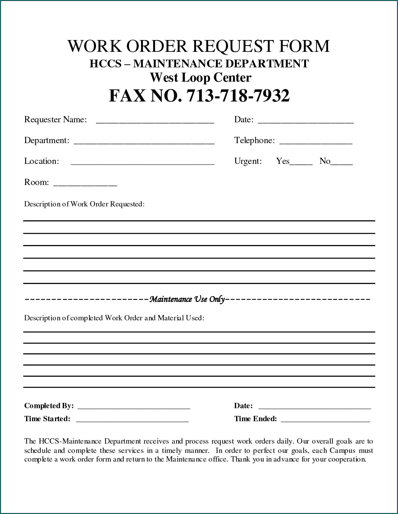 Sample of Maintenance Work Order Form
