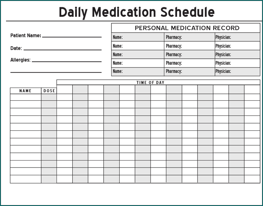 Sample of Medication Schedule Template