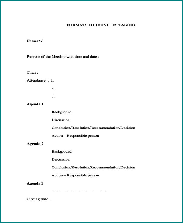 Sample of Minute Taking Template