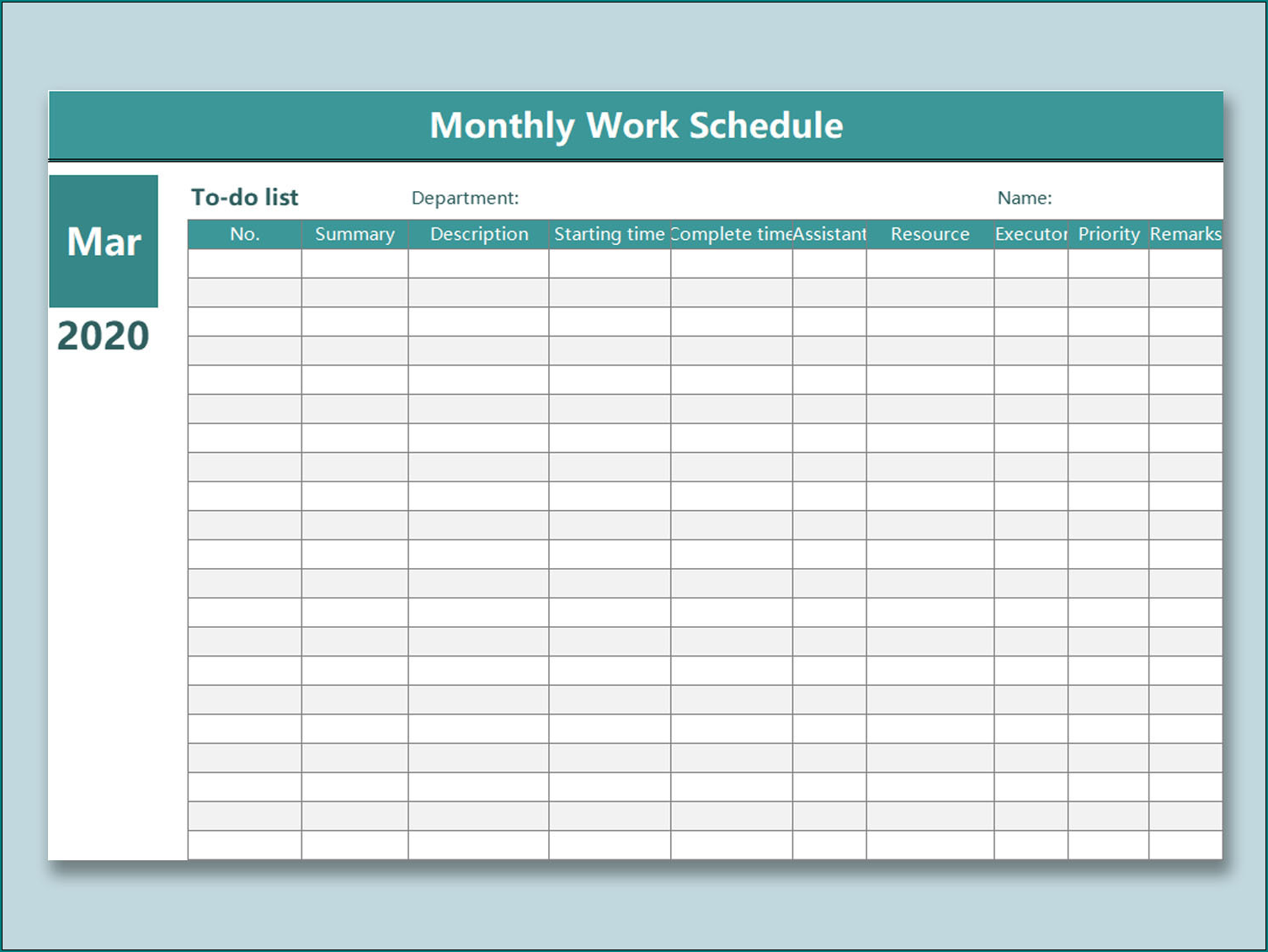 Sample of Monthly Employee Schedule Template Excel