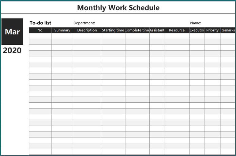 Sample of Monthly Employee Schedule Template