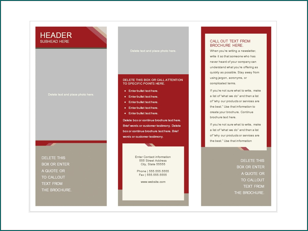 Sample of Pamphlet Template Word