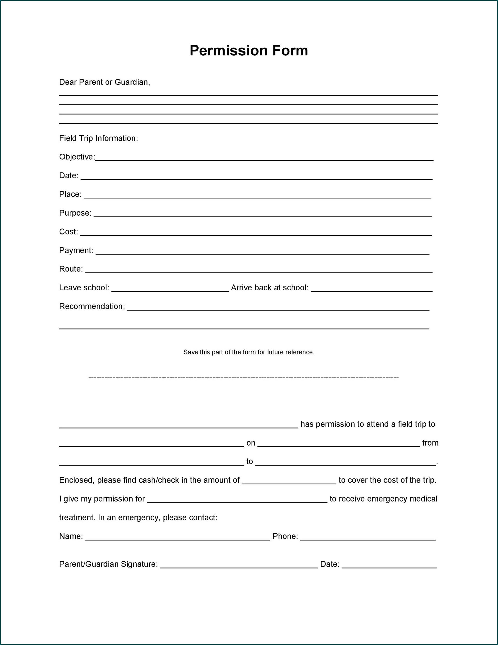 Sample of Parent Permission Form
