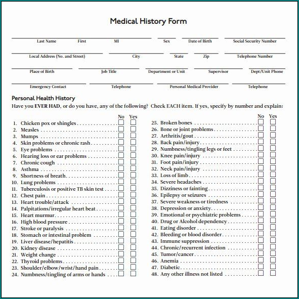 Sample of Personal Medical Health Record Sheet Template