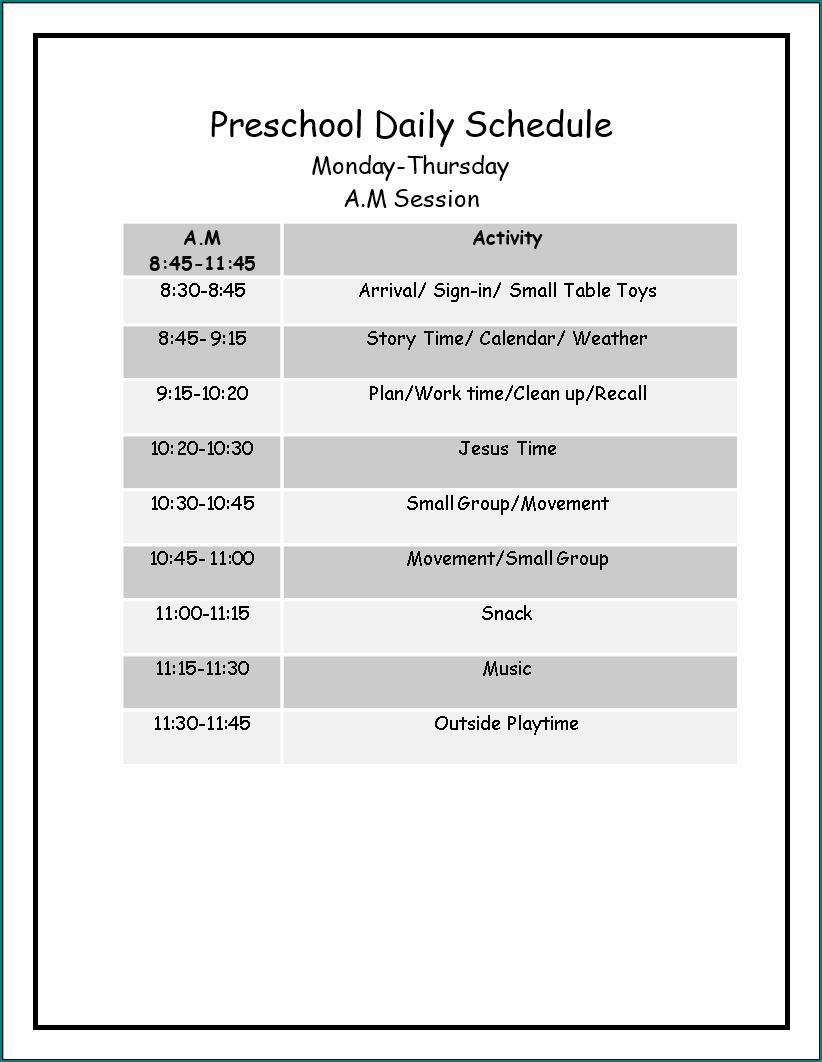 Sample of Preschool Schedule Template