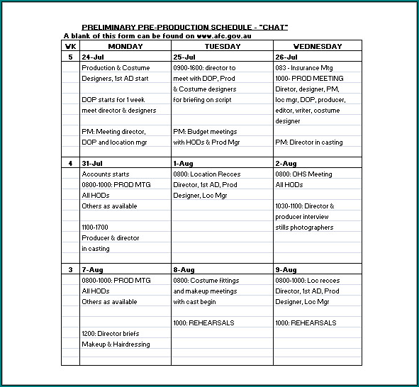 Sample of Production Schedule Template