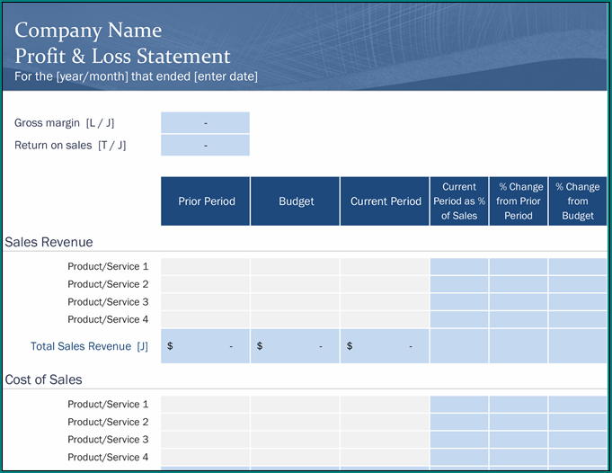 Sample of Profit And Loss Statement Excel Template