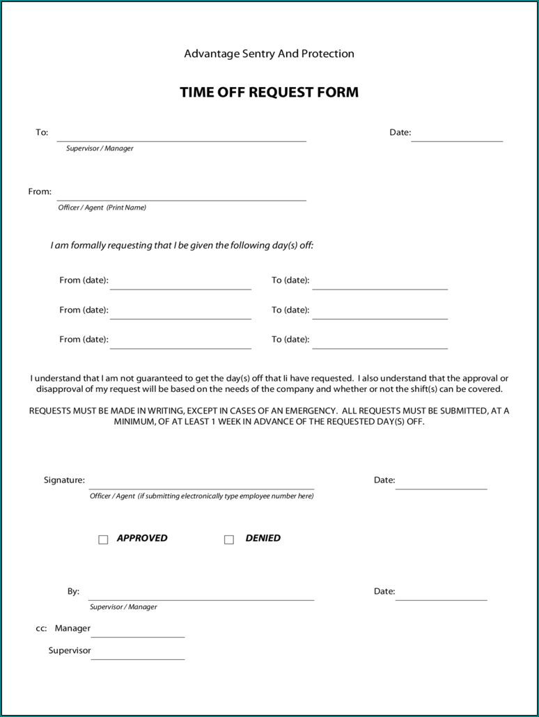 Free Printable Request Day Off Form   Bogiolo