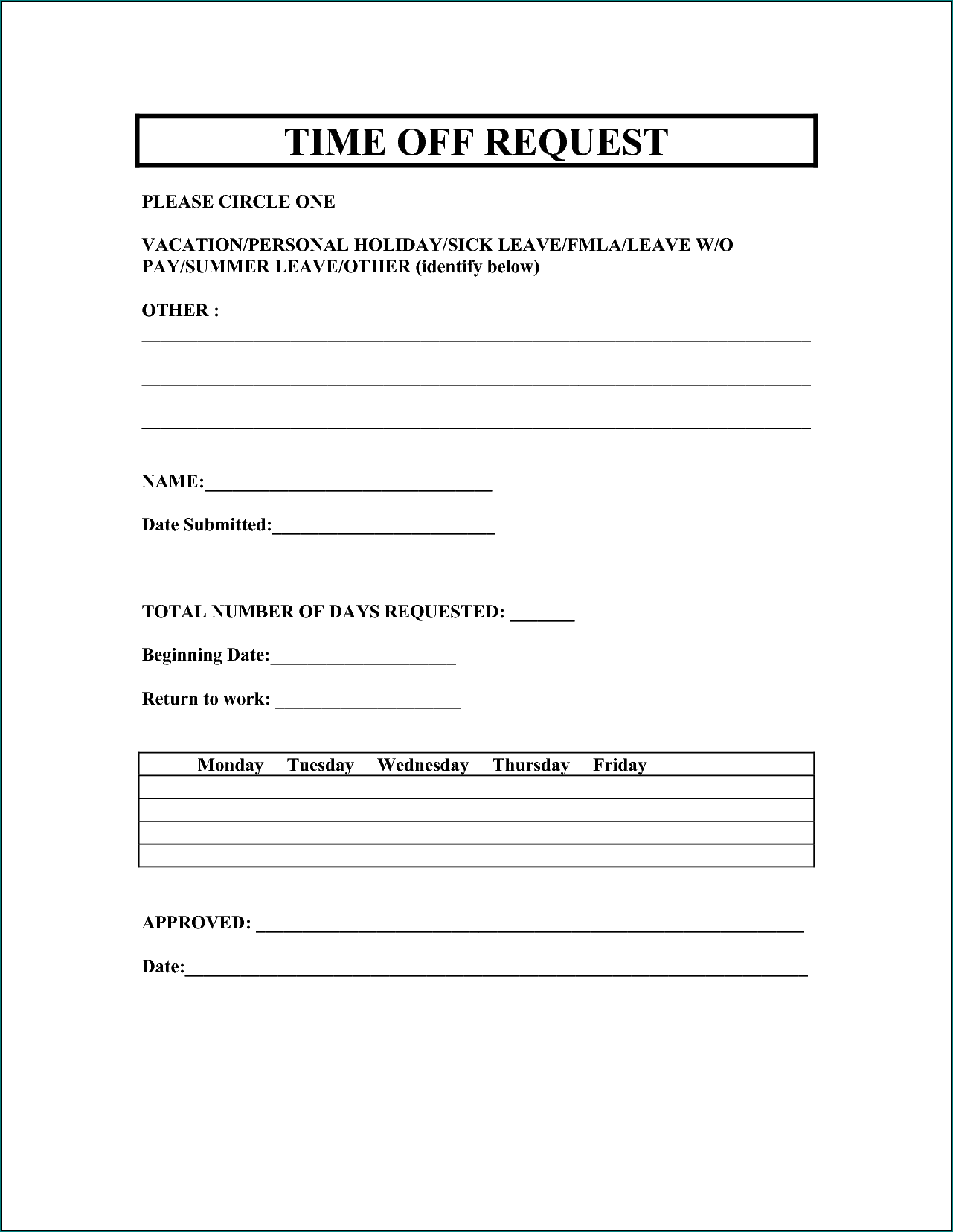 Sample of Request For Time Off Form