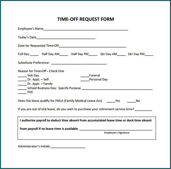 Sample of Request Time Off Form