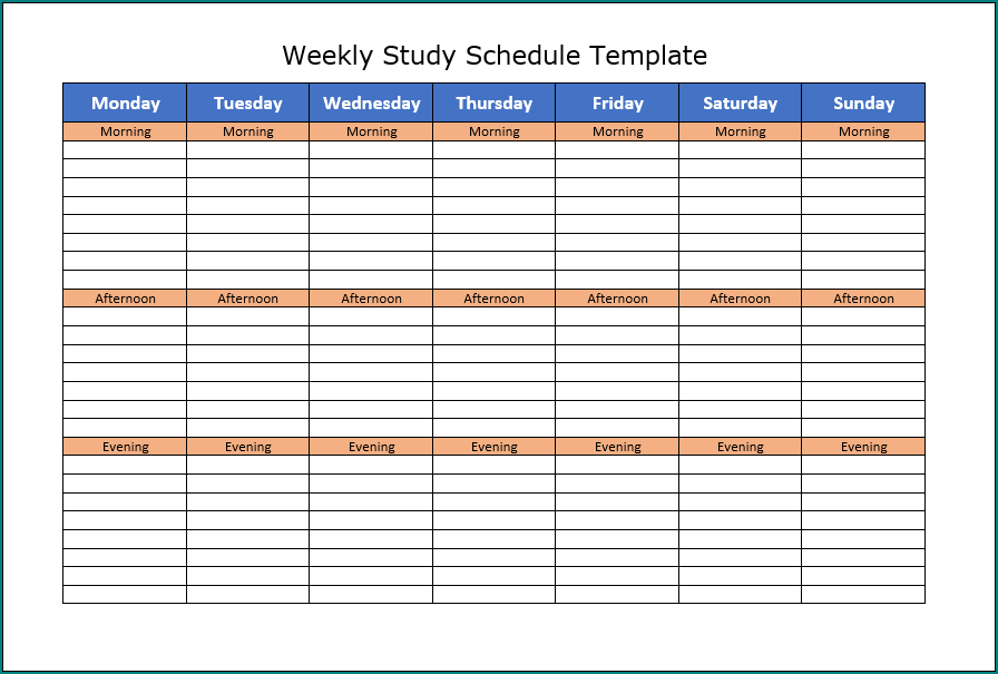 Sample of Schedule Template Word