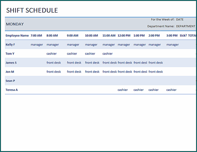 Sample of Shift Schedule Template