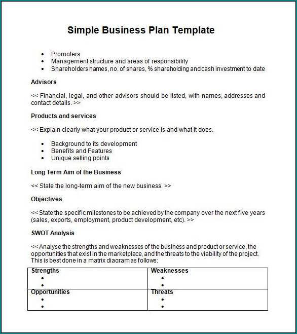 Sample of Simple Business Plan Template Word