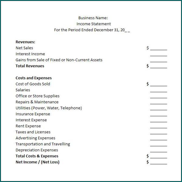 Sample of Simple Income Statement Template
