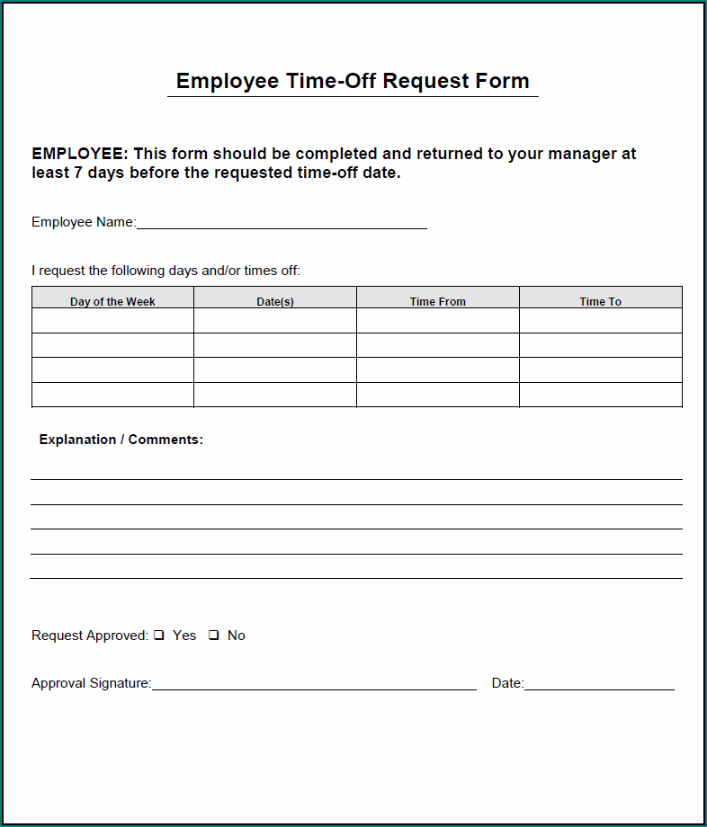 Sample of Time Off Request Form