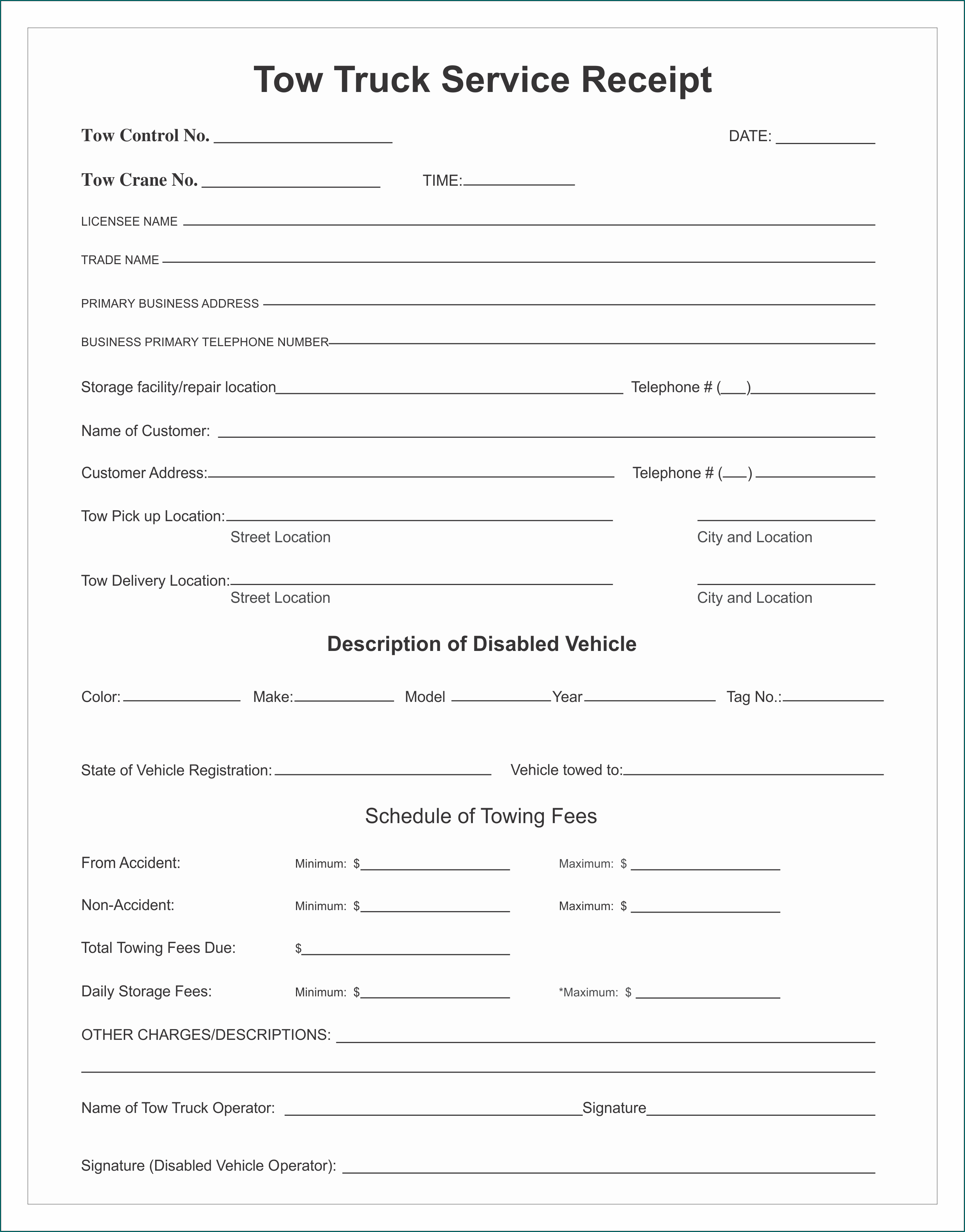 Sample of Towing Receipt Template