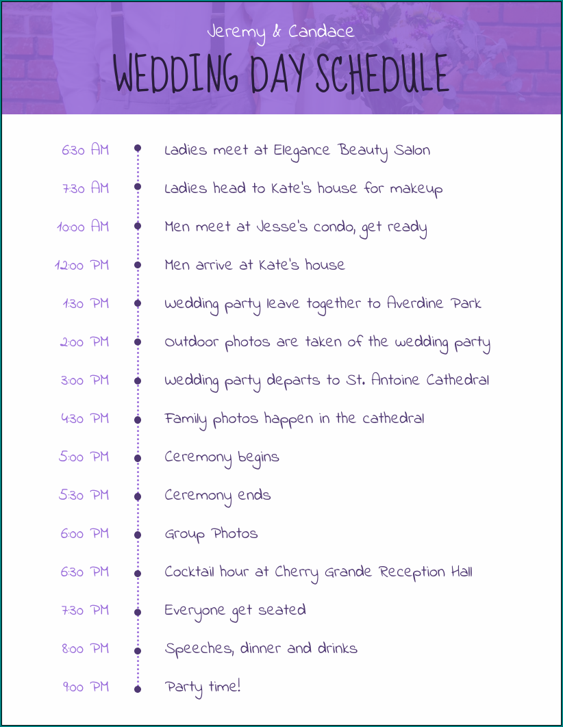 Sample of Wedding Day Schedule Template