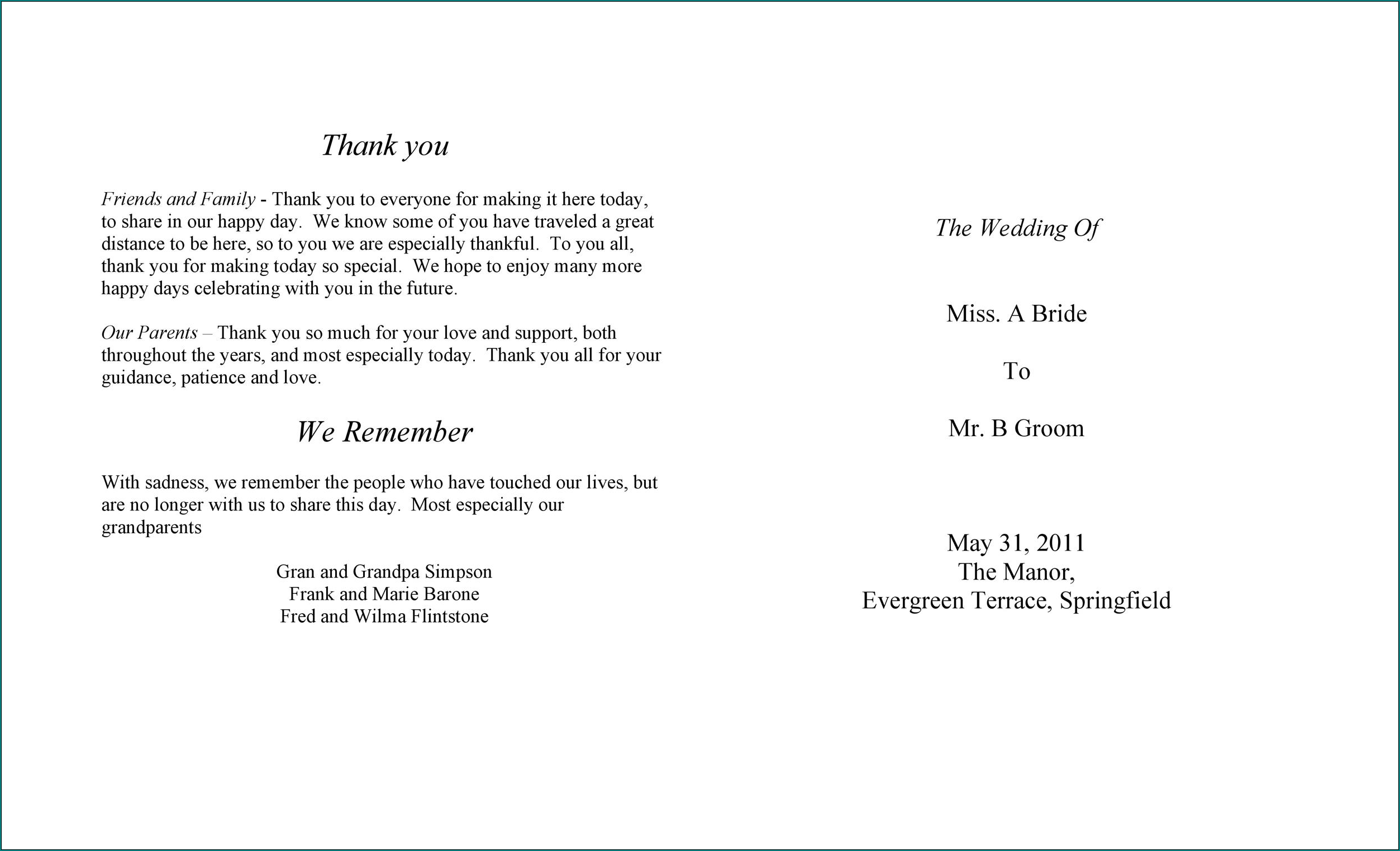 Sample of Wedding Reception Program Template