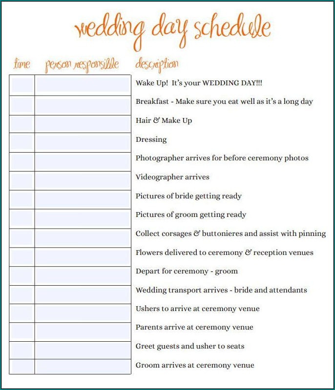 Sample of Wedding Schedule Template
