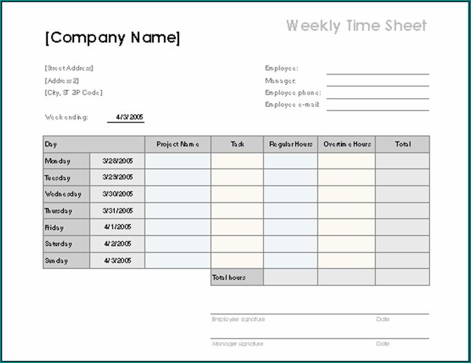 Sample of Weekly Employee Timesheet Template