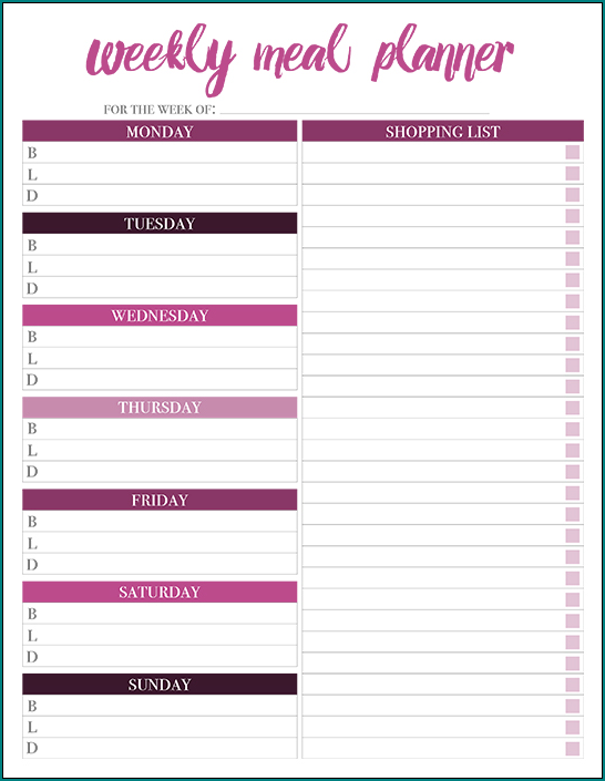 Sample of Weekly Menu Planner Template