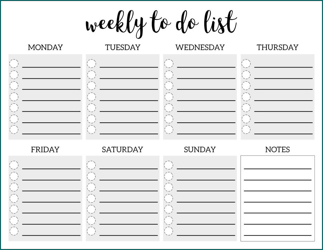 Sample of Weekly To Do List Template