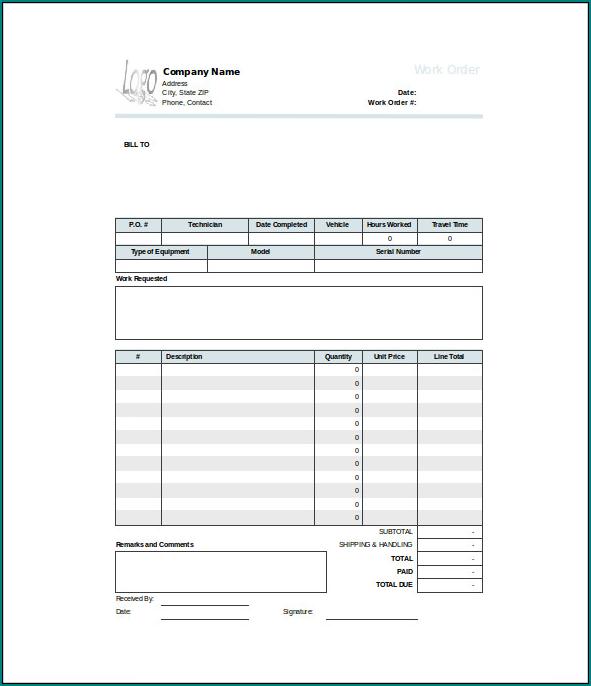 Sample of Work Order Template Excel
