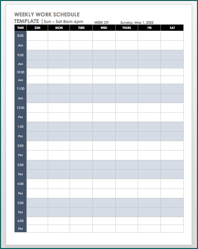 Sample of Working Schedule Template