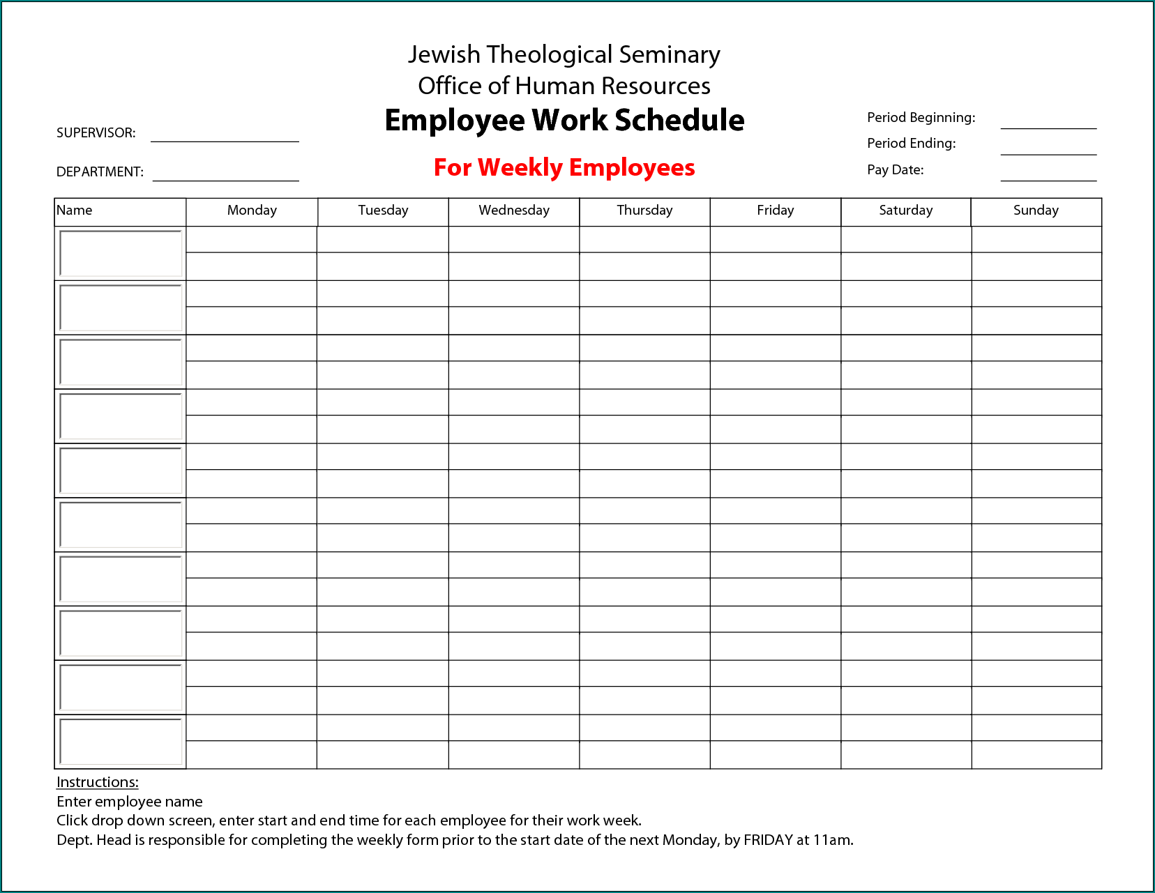Schedule Template For Employees Example