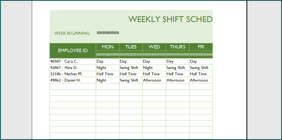 Schedule Template For Employees