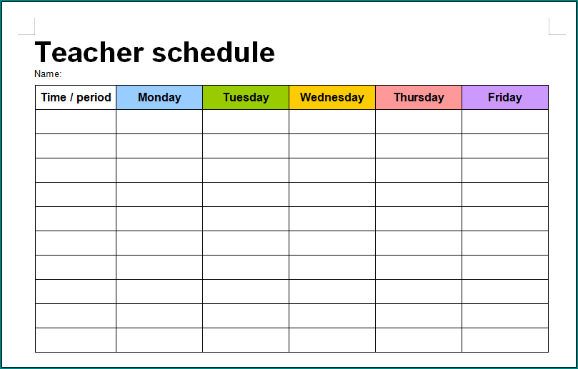 Free Printable Schedule Template For Teachers Bogiolo