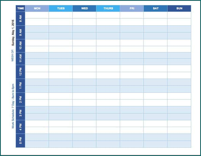 Schedule Template Word Sample