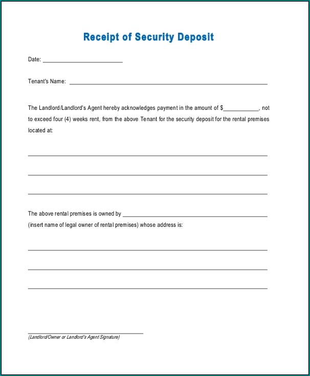 Security Receipt Template Sample