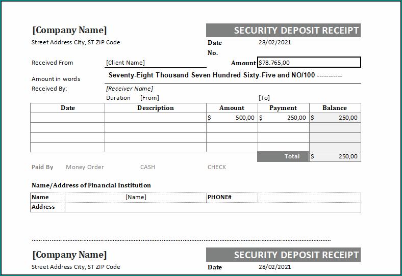 Security Receipt Template