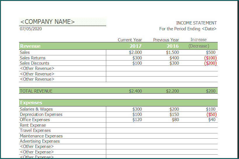 Simple Income Statement Template