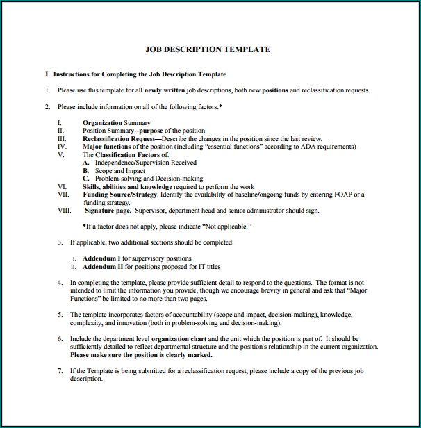 Simple Job Description Template Example