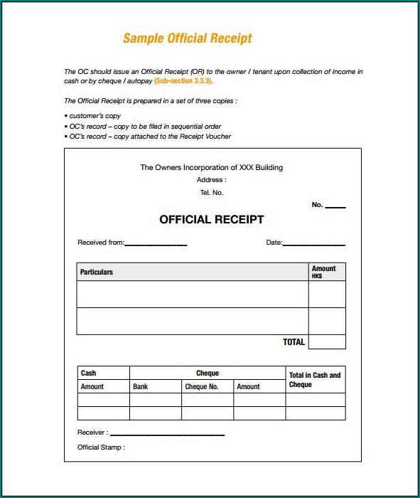 Simple Receipt Template Sample